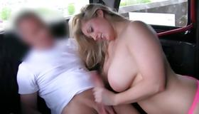 Blonde sluttish whore bending for cock sucking