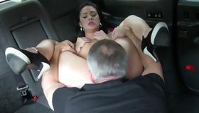 Whorish babe is sucking the hard balls