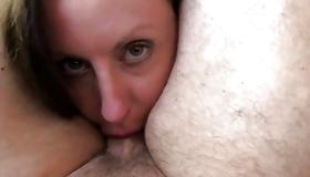 Dirty slut fucks a dude with her mouth