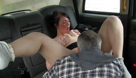 Gorgeous slut sucking hard on the huge dick