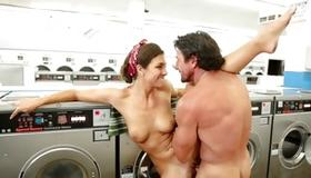 Slut gets her fucked in the laundry