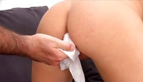 Busty hottie is sucking the huge dick